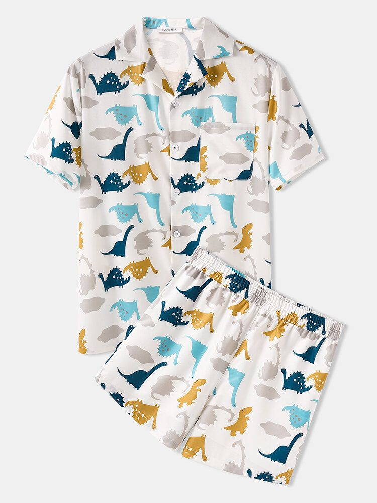 Mens Cute Dinosaur Print Elastic Waist Cartoon Cofy Pajama Set