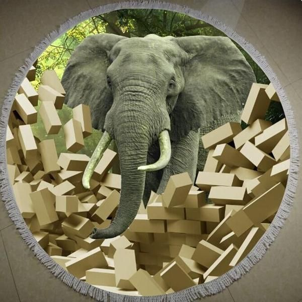 150cm 3D Elephants Printing Microfiber Bath Beach Towel Soft Quick Drying Round Washcloth
