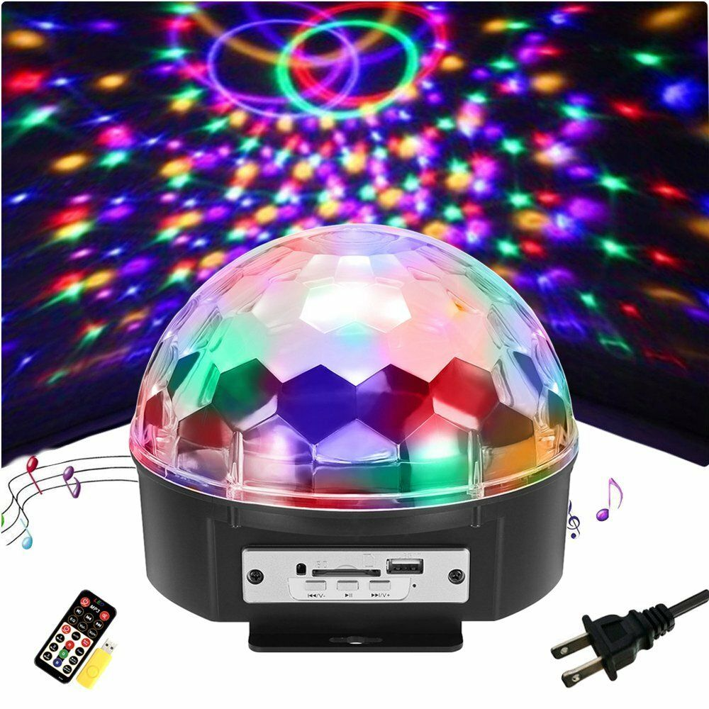 9 Color LED Voice Control With Remote Control MP3 Crystal Ball Flashlightts Stage Sprinkle Lights