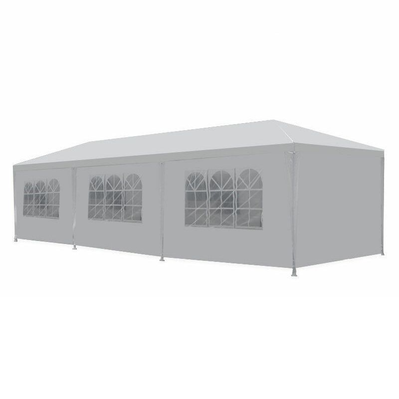10x30ft BBQ Gazebo Pavilion White Canopy Wedding Party Tent With Side Walls Cloth