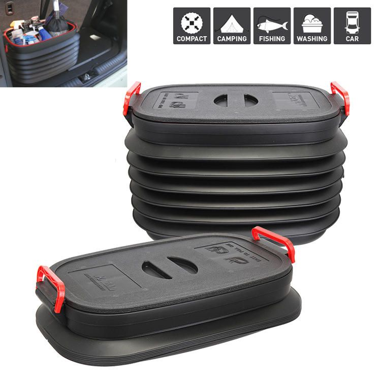 AVE US$30.28 IPRee® 37L Car Folding Fishing Telescopic Bucket with Cover Outdoor Portable Storage Box Organizer