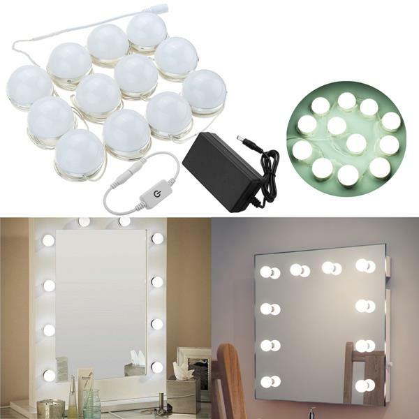 OIV US$34.73 Hollywood Style 12Bulbs White LED Vanity Mirror Lights Kit + US Adapter +Dimmer DC12V