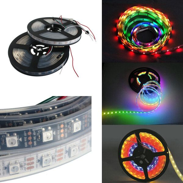 5M WS2812B 5050 RGB Waterproof IP67 150 LED Strip Light Dream Color Changing Individual Addressable DC 5V