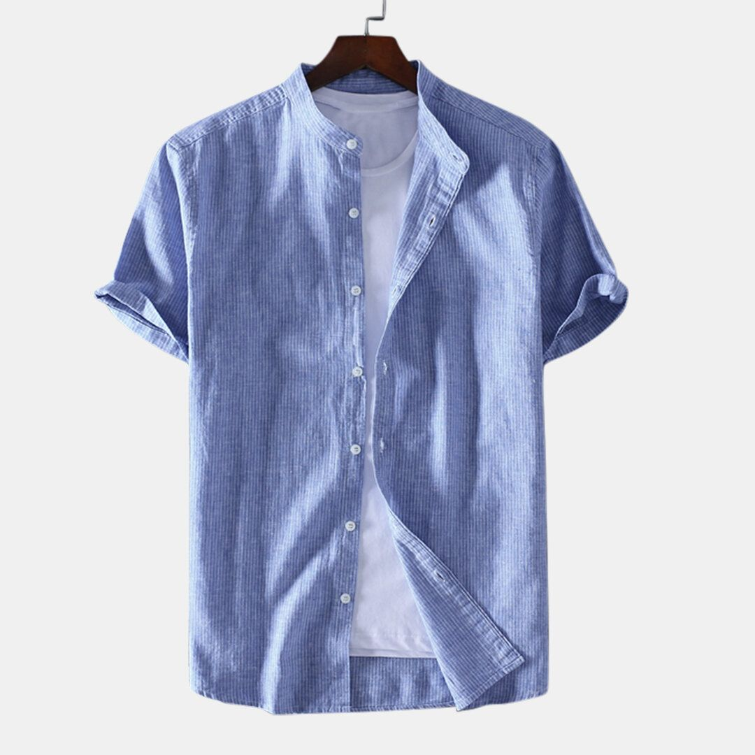 Mens Summer T shirts Striped Short Sleeve Cotton Shirts