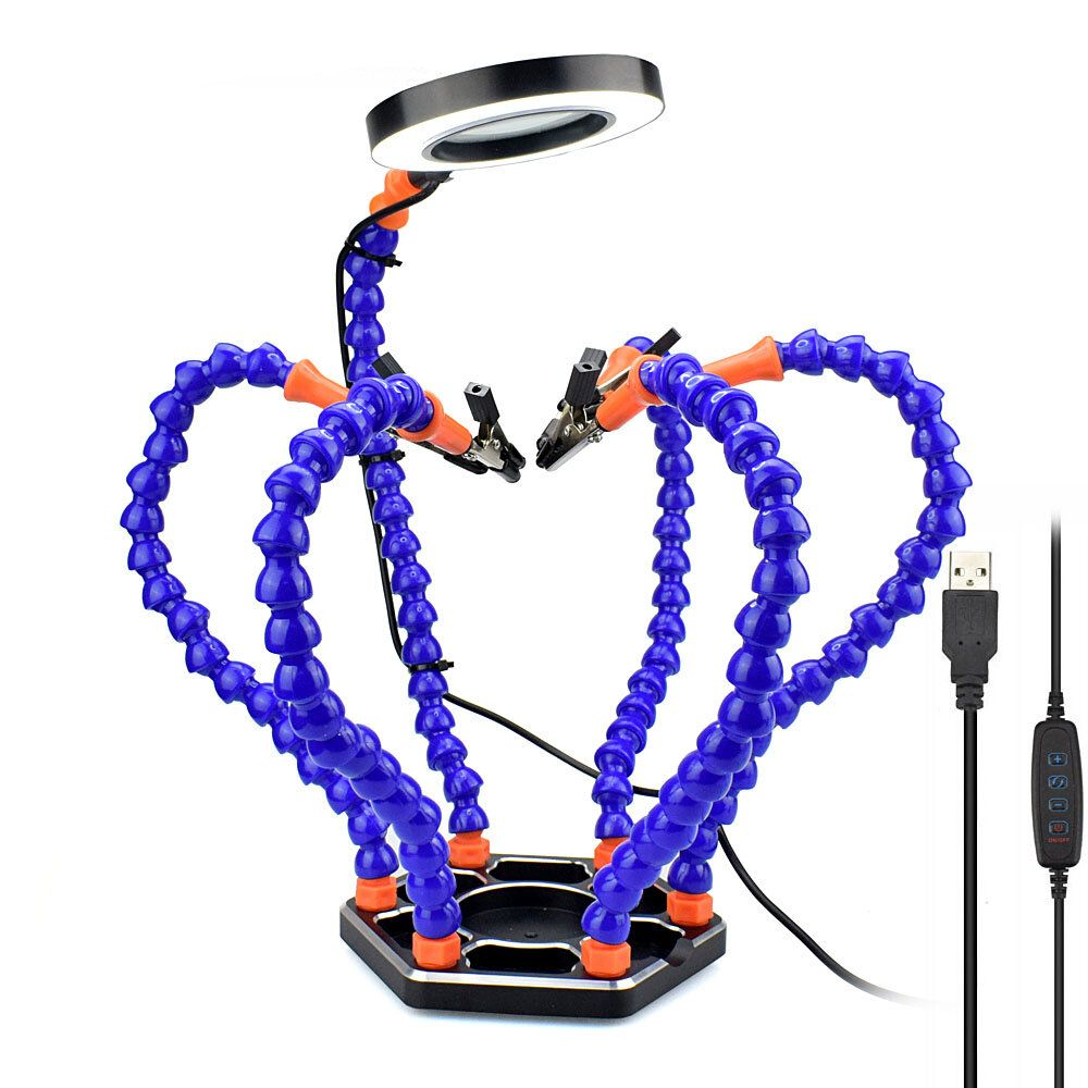 NEWACALOX Soldering PCB Holder Tool Six Arms Helping Hands Third Hand Crafts Repair Helping Welding Station USB LED Magnifier