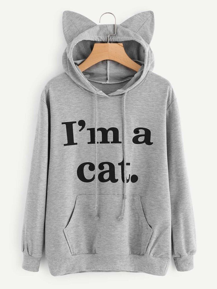 Casual Loose Letter Print Solid Color Cat Ears Hooded Hoodies
