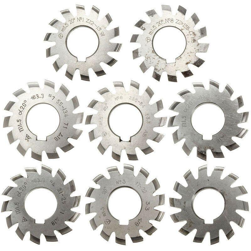 8pcs Module 1.5 PA20 Bore 22mm #1 8 HSS Involute Gear Milling Cutter