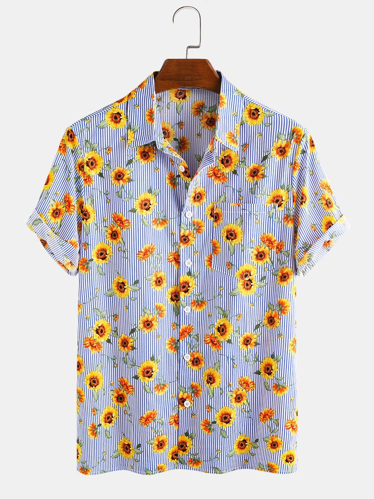 Cotton Sunflower Printed Striped Casual Short Sleeve Hawaii Holiday Shirts For Men Women