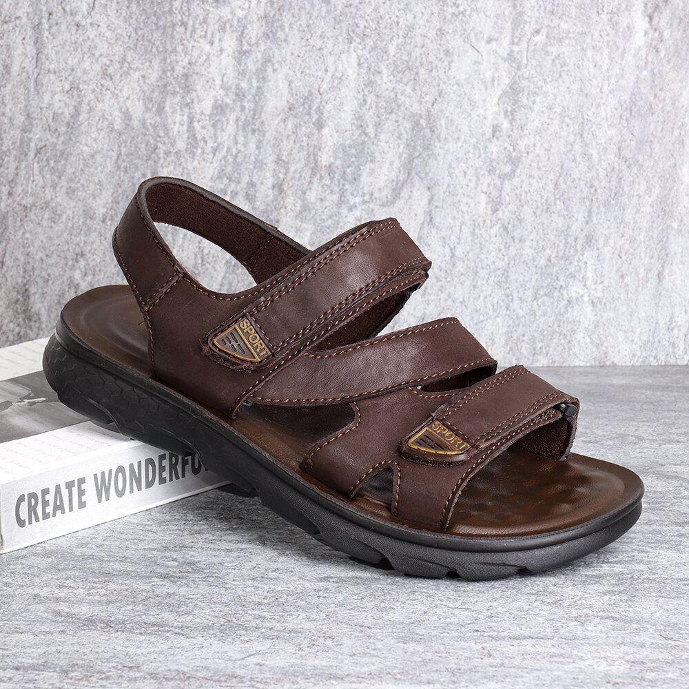 Menico Men Microfiber Leather Casual Slip Resistant Hook&Loop Sandals