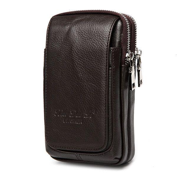 Genuine Leather Multi function Fanny Waist Bag Belt Bum Pouch Phone Bag Coin Purse For Men