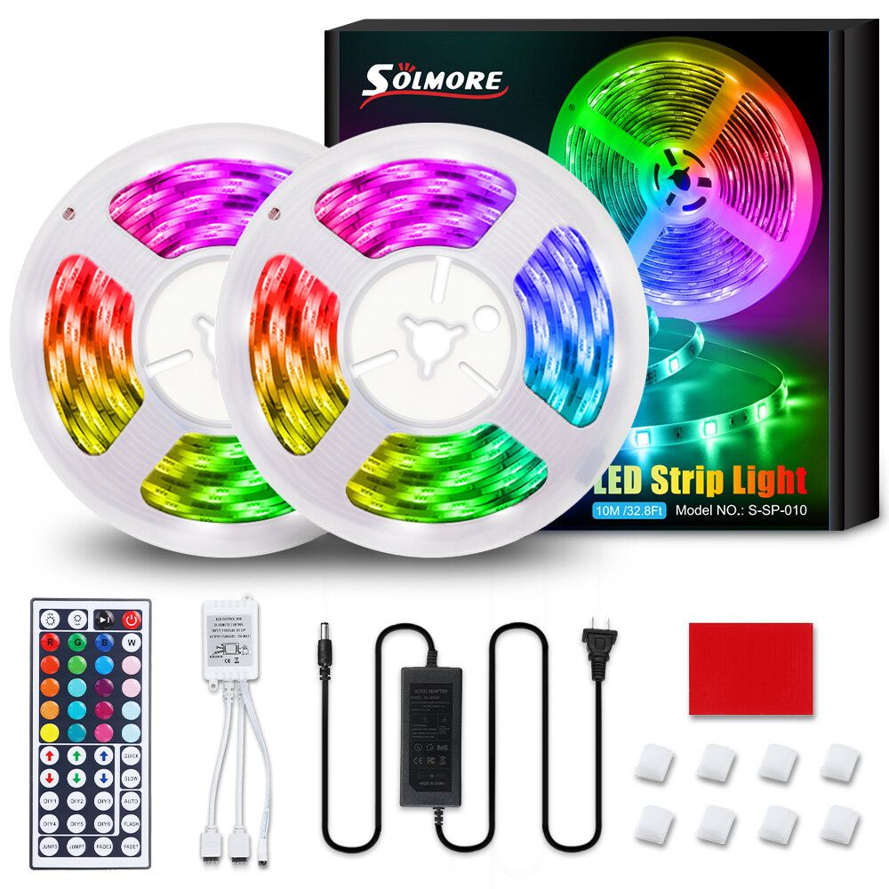 SOLMORE 10M 32.8FT LED Strip Light SMD5050 RGB IP65 Waterproof Rope Flexible Tape Lamp Kit with 44Keys IR Remote Controller