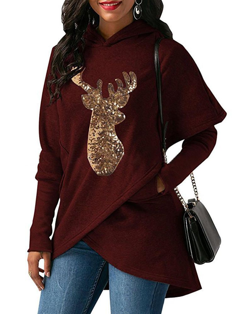 LDS US$26.59 Women Casual Deer Sequins Hooded Asymmetric hoodies