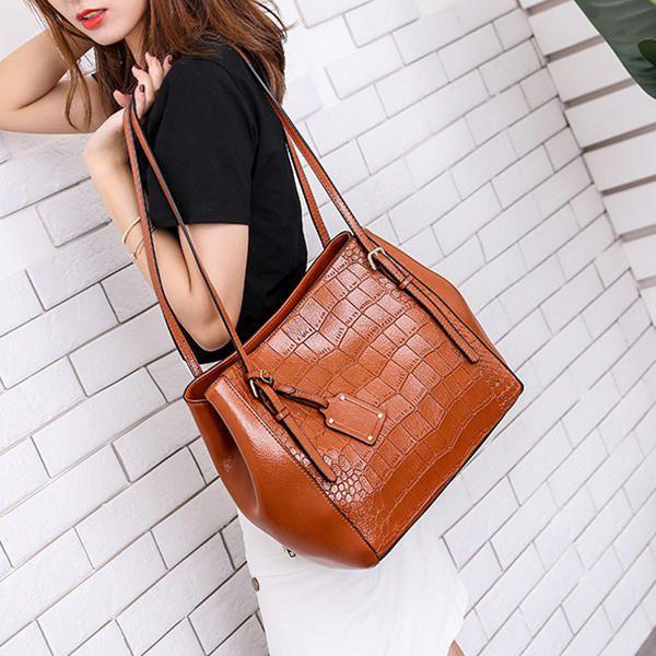 JYK US$49.21 Women Crocodile Pattern Oil Wax Bucket Bag Solid Casual Shoulder Bag Handbag