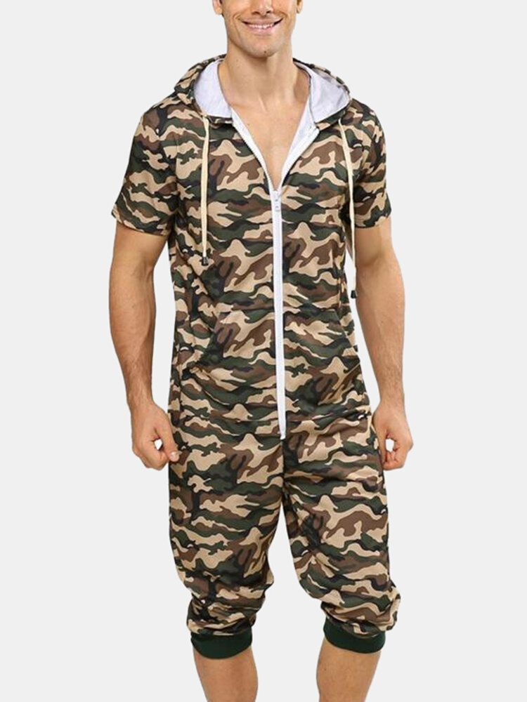 Men Fashion Camouflage Short Sleeve Hooded Zipper Casual Jumpsuit Sleepwear