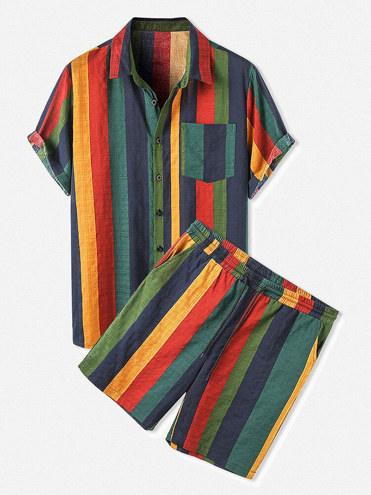 Mens Colorful Striped Turn Down Collar Short Shirts Shorts Two Piecese
