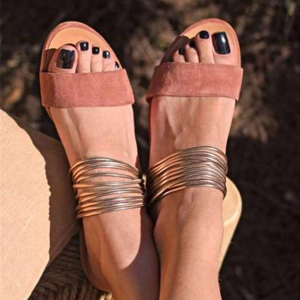 Women Plus Size Open Toe Casual Summer Beach Flat Sandals