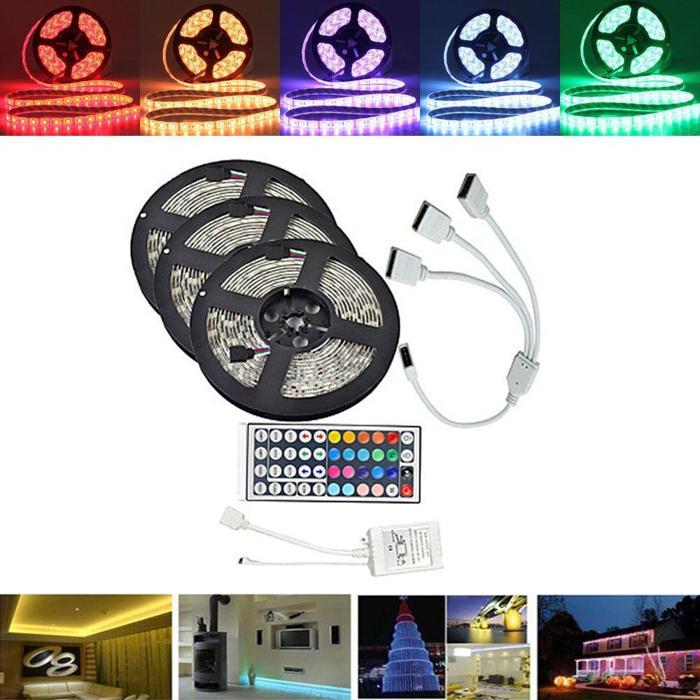 15M SMD5050 Waterproof RGB 450 LED Strip Tape Light Kit + 44 Keys Controller + Cable Connector DC12V