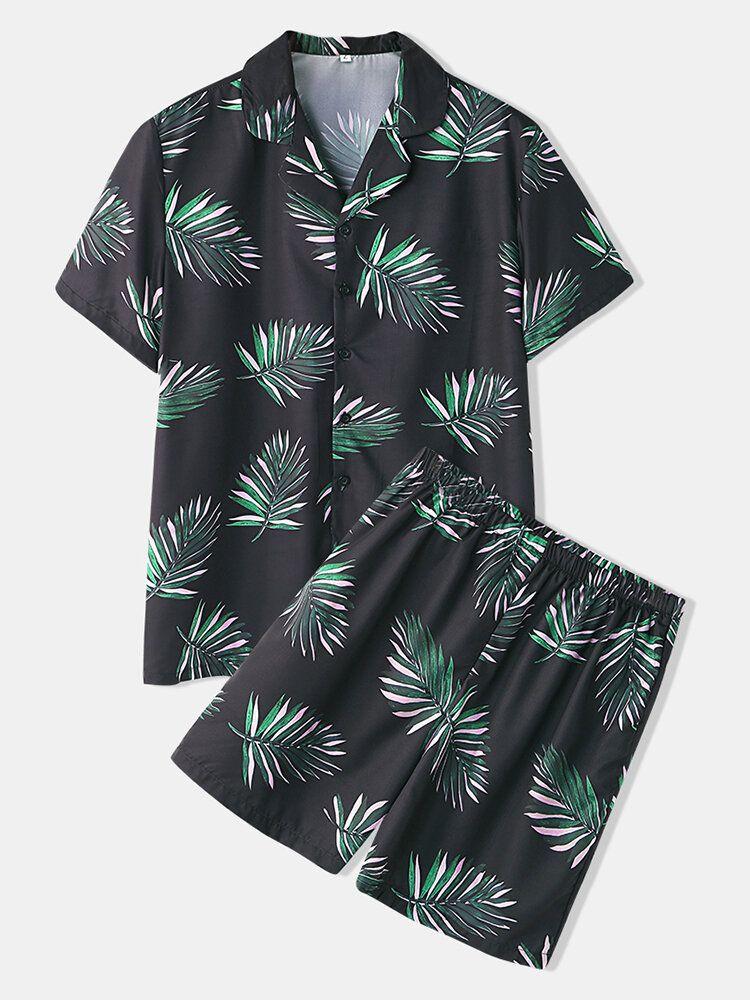 Men Pajama Set Metasequoia Print Revere Collar Elastic Waist Loose Sleepwear