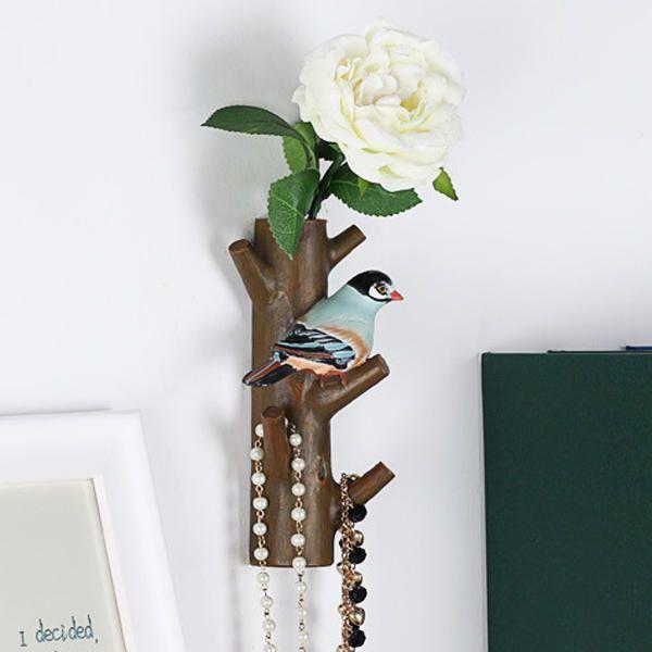 Creative Resin Flower Bird Tree Shape Hook Home Hangers Stand Decoration