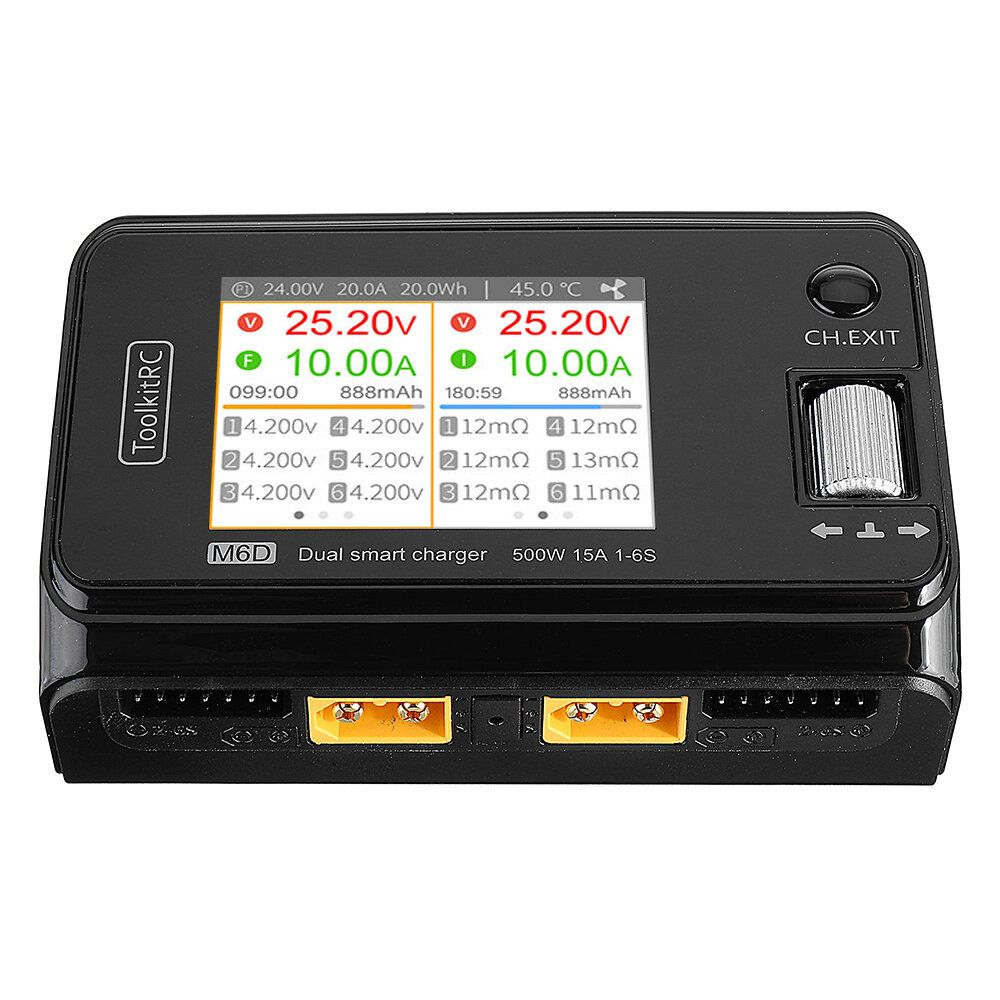 ToolkitRC M6D 500W 15A DC Dual Channel MINI Smart Charger Discharger for 1 6S Lipo Battery