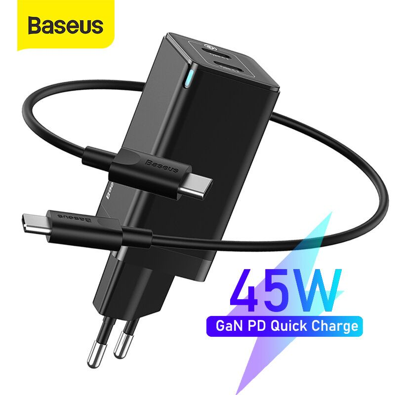 [GaN Tech] Baseus 45W USB C Wall Charger 2 Port PD3.0 QC3.0 AFC SCP Quick Charge Adapter With EU Plug + 60W USB C to USB C Fast Charging Cable