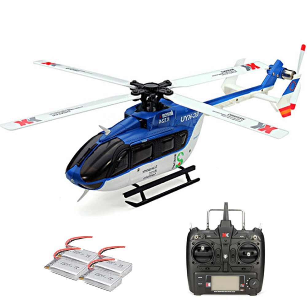 XK K124 2.4G 6CH Brushless EC145 3D6G System RC Helicopter 4PCS 3.7V 700mAh Lipo Battery Version Compatible With FUTAB A S FHSS