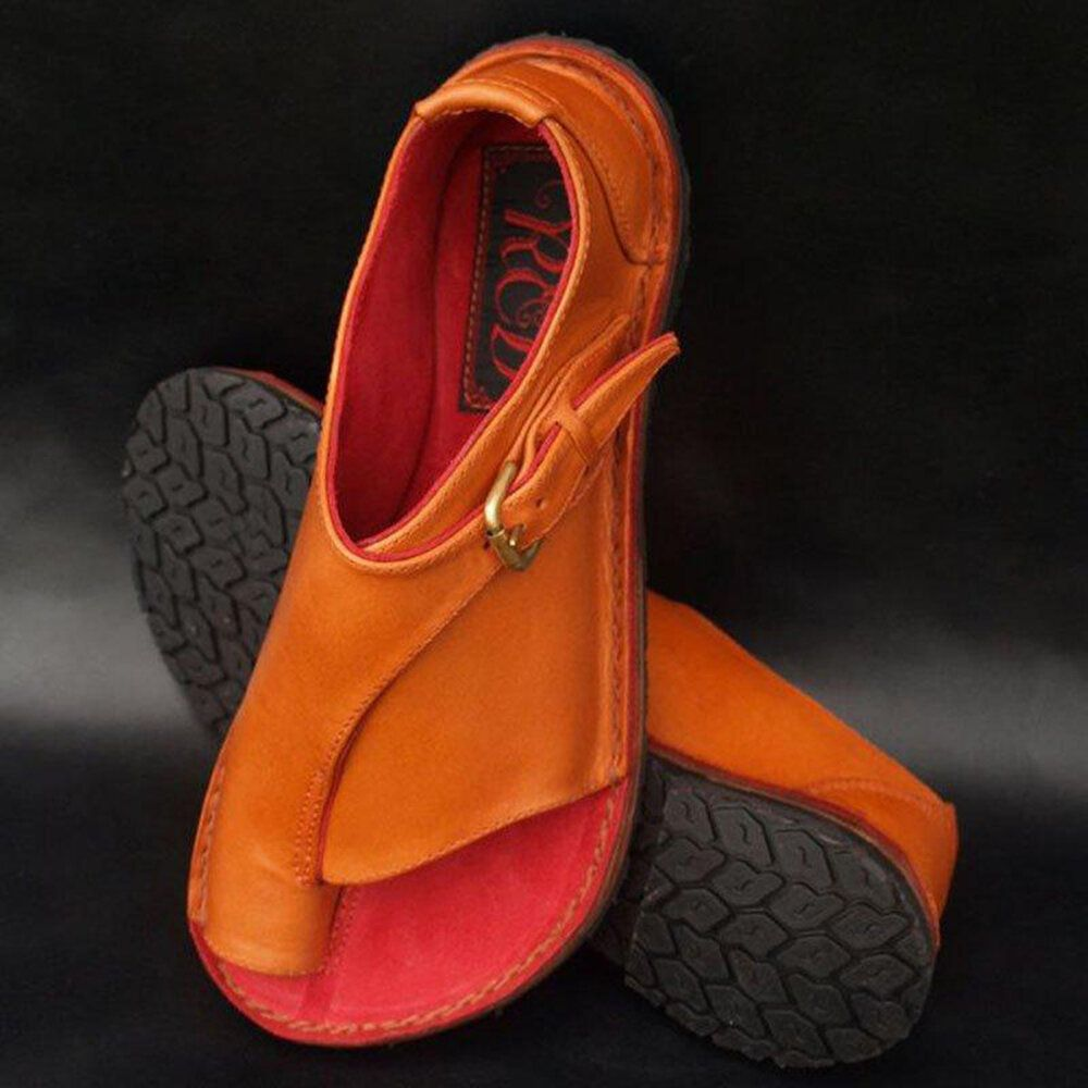 Large Size Splicing Pure Color Flat Sandals For Women