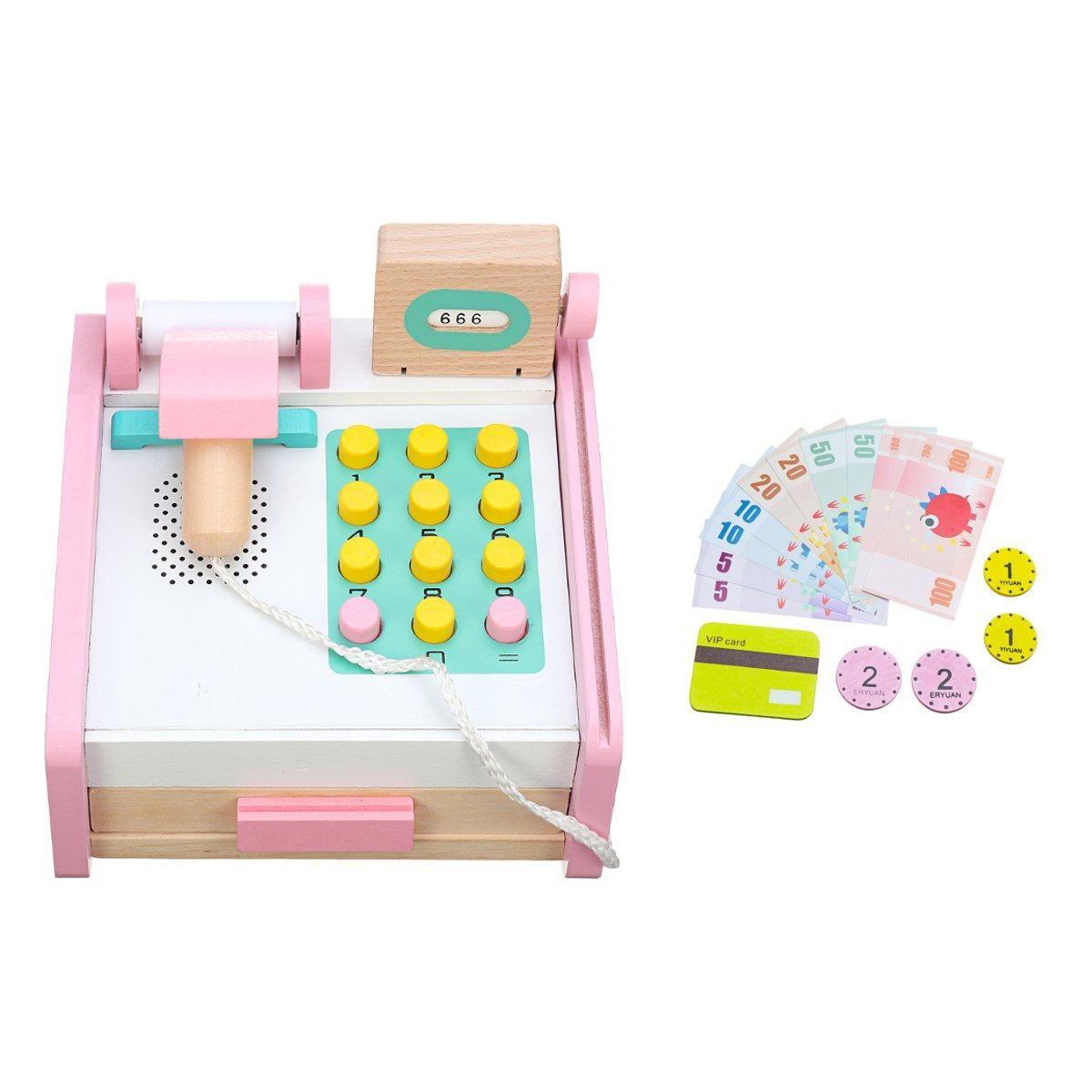 Supermarket Wooden Till Cash Register Toys Set Kids Educational Pretend Play Game