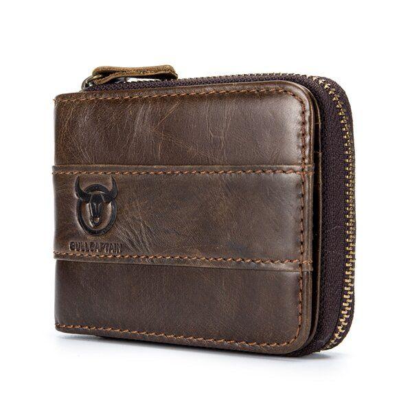 WDA US$22.08 Bullcaptain RFID Antimagnetic Vintage Genuine Leather 11 Card Slots Coin Bag Wallet For Men