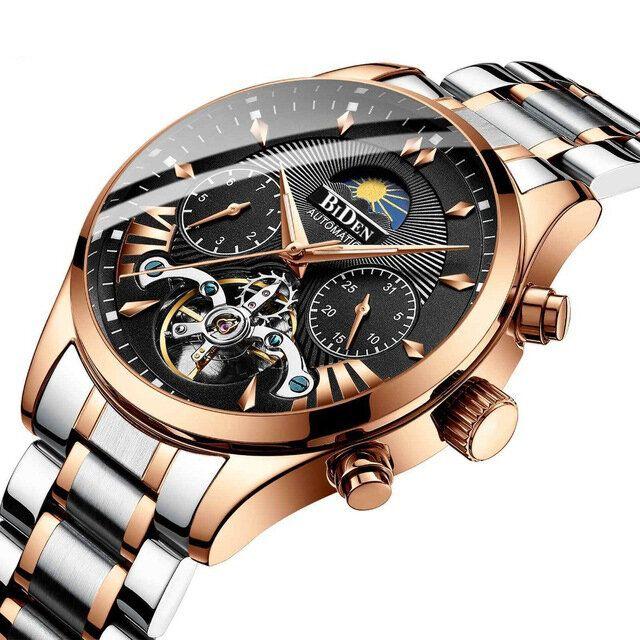 BIDEN BD8509 Moon Phase Automatic Mechanical Watch Multifunction Waterproof Men Watch