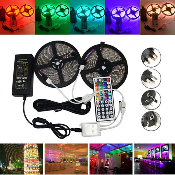 10M SMD 5050 Waterproof RGB 600 LED Strip Light + IR Controller + Cable Connector + Adapter DC12V