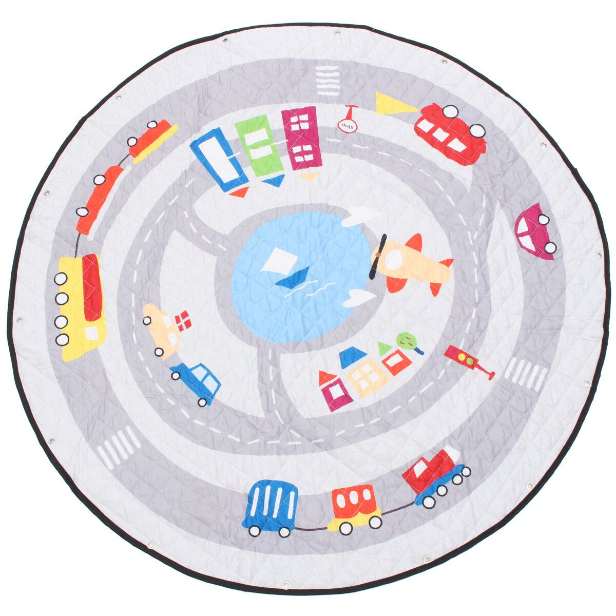 55'' Soft Cotton Round Baby Kids Game Gym Play Crawling Blanket Toys Storage Bag
