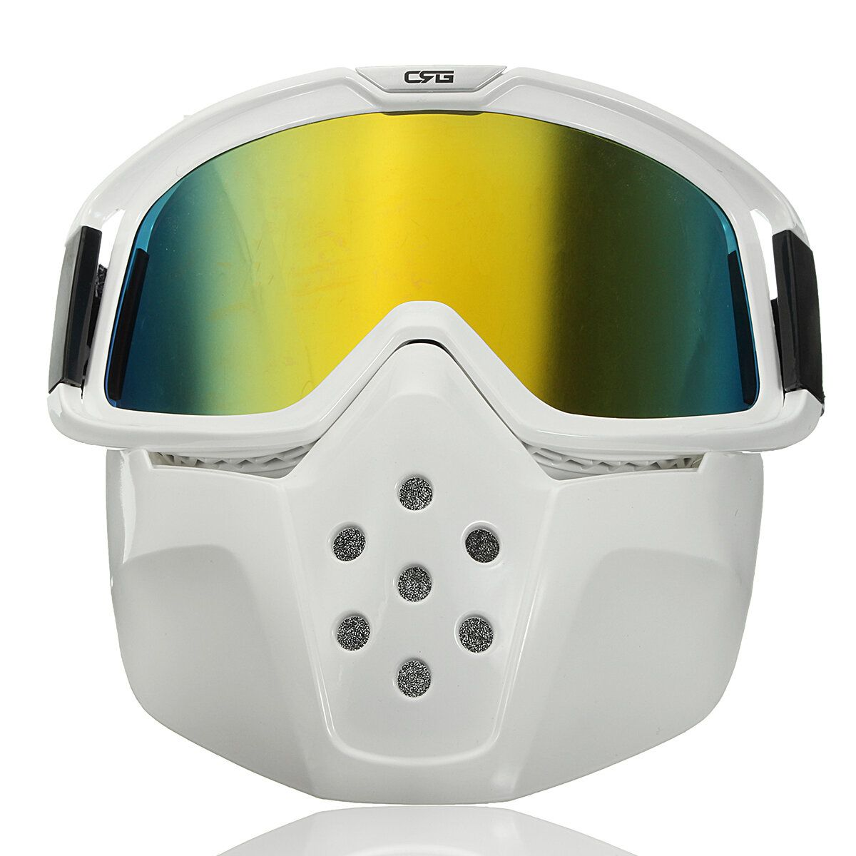 NBH US$27.31 Detachable Modular Face Mask Shield Goggles Riding Motorcycle Helmet Yellow Lens