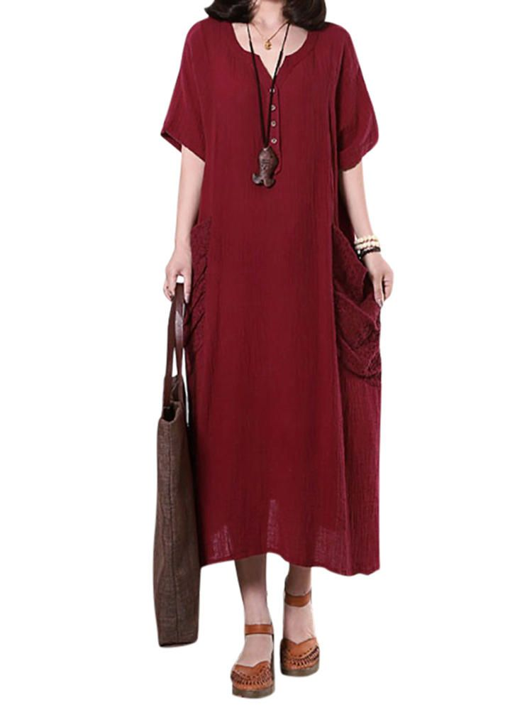 Loose Women Solid Button Pocket Stitching Maxi Dress