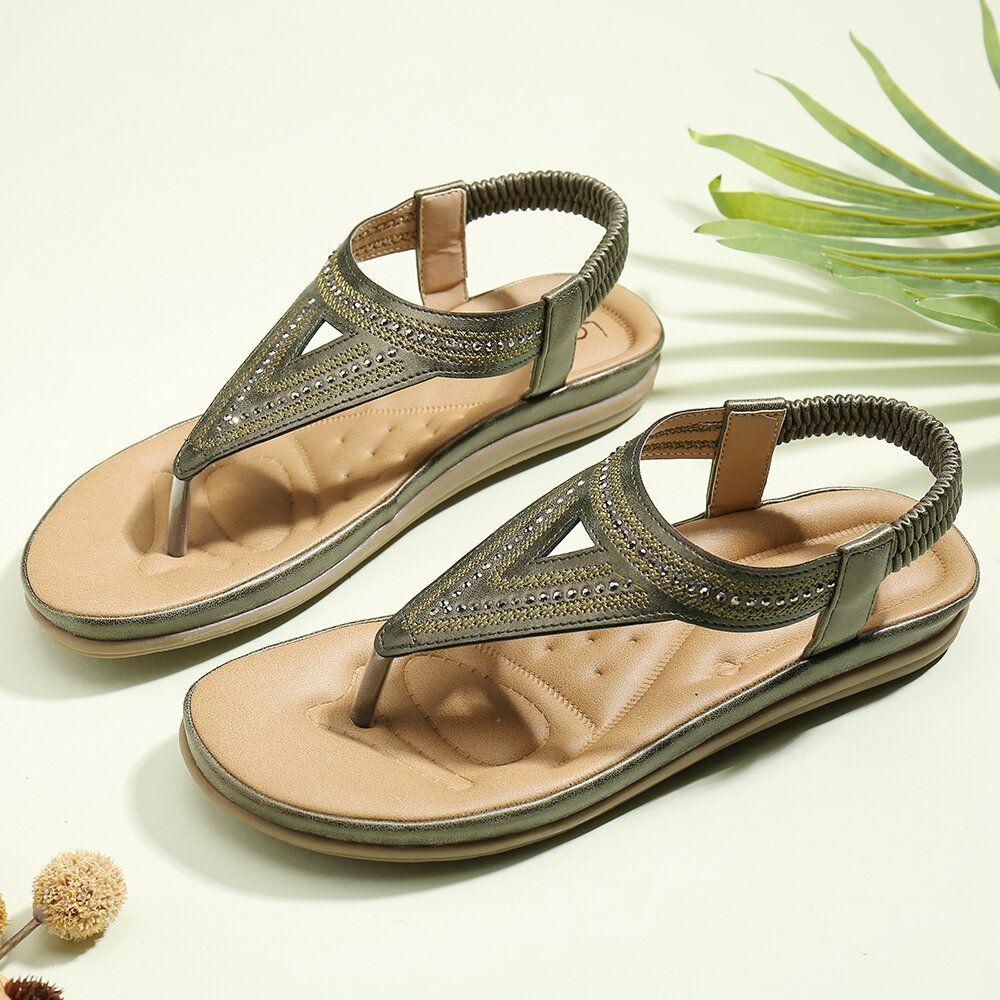 LOSTISY Women Flip Flop Rhinestone Elastic Band Slip On Summer Comfy Casual Flat Sandals