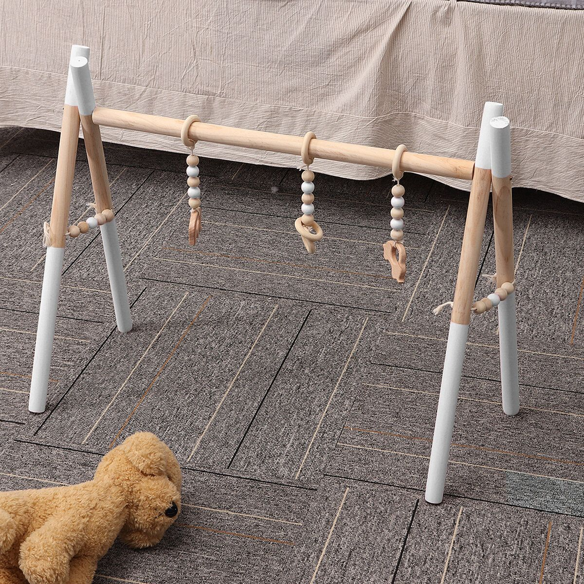 Wooden Baby Gym Toy Non Toxic Organic Play Stand Nursery Fun 3 Hanging Mobile Wood Rack Room Decoration