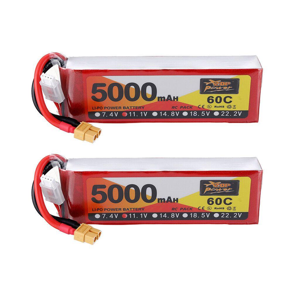 2Pcs ZOP Power 11.1V 5000mAh 60C 3S Lipo Battery XT60 Plug For RC Car Quadcopter