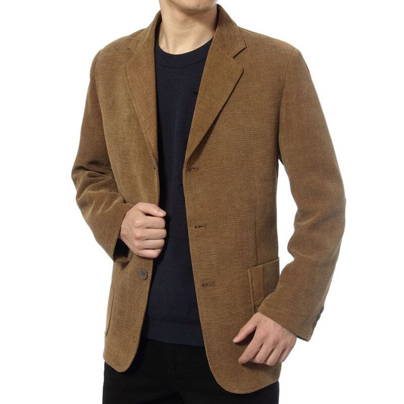 Mens Corduroy Casual Suit Blazers Solid Color Spring Coats