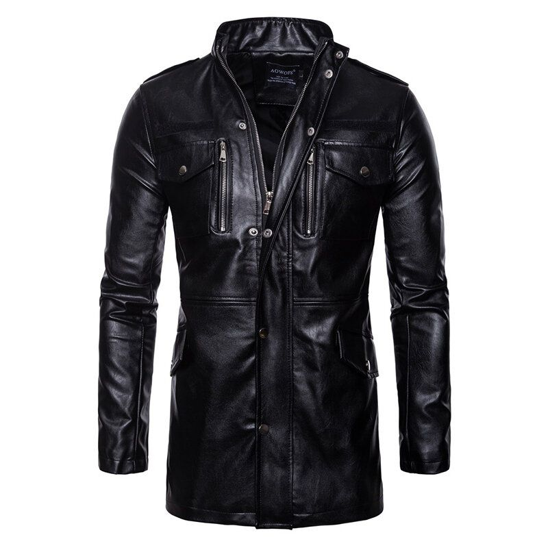 Mens Mid Long Faux Leather Black Stand Collar Biker Jacket
