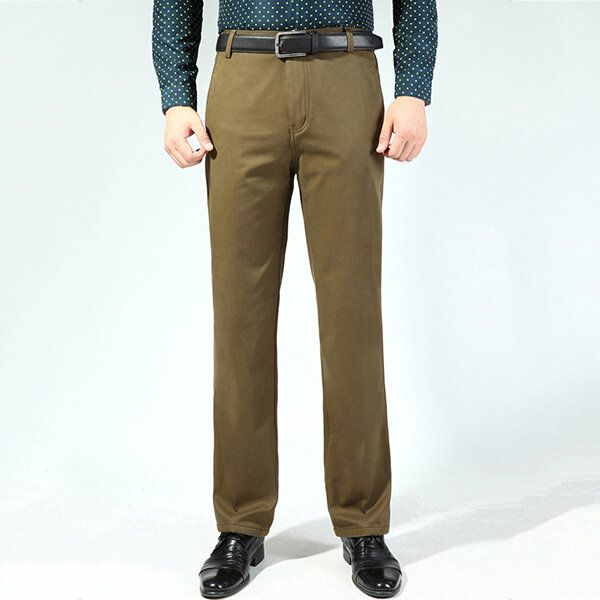 Men's Buiness Casual Loose Thick Cotton Suit Pants Pure Color Middle aged Trousers