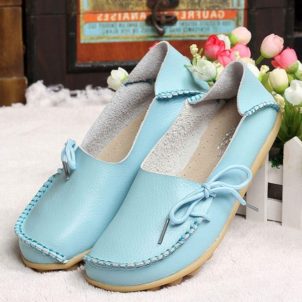 US Size 5 13 New Women Soft Comfortable Lace Up Flat Loafers Breathable Casual Leather Flats Shoes