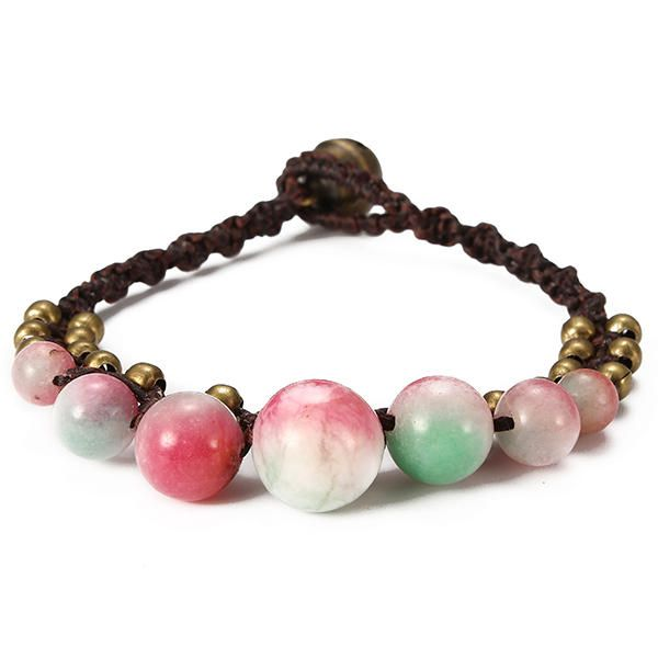 Vintage Ethnic Jewelry Natural Agate Wax Rope Bracelets For Women