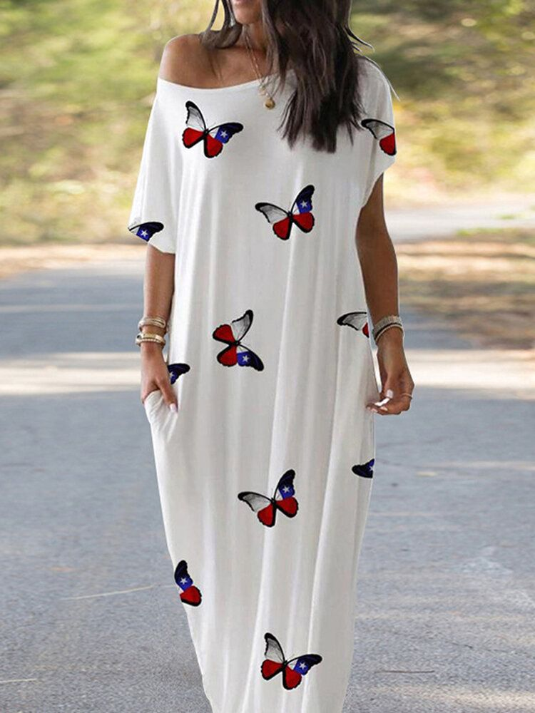 Women Casual Butterfly Print Loose Maxi Dress with Pockets