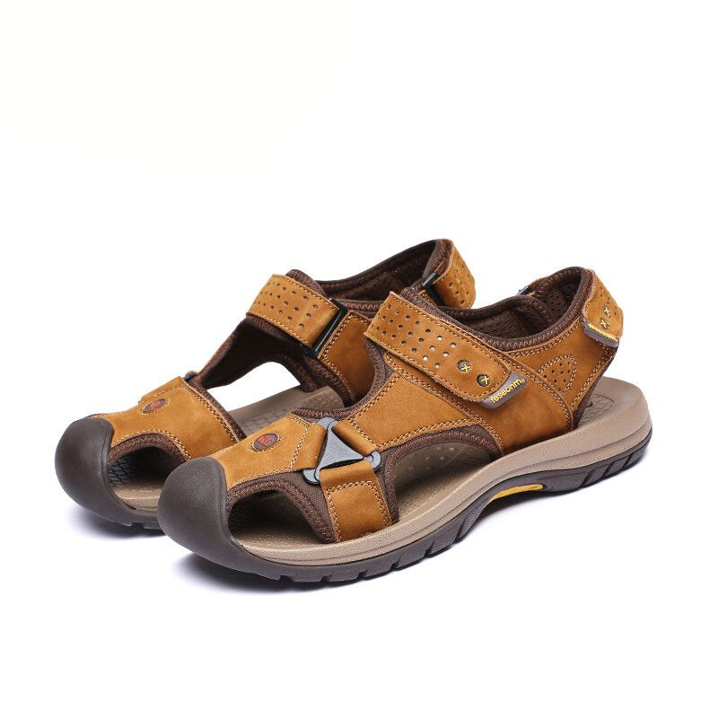 TK 50 Summer Men Genuine Leather Cowhide Beach Shoes Casual Suede Leather Sandals Slippers