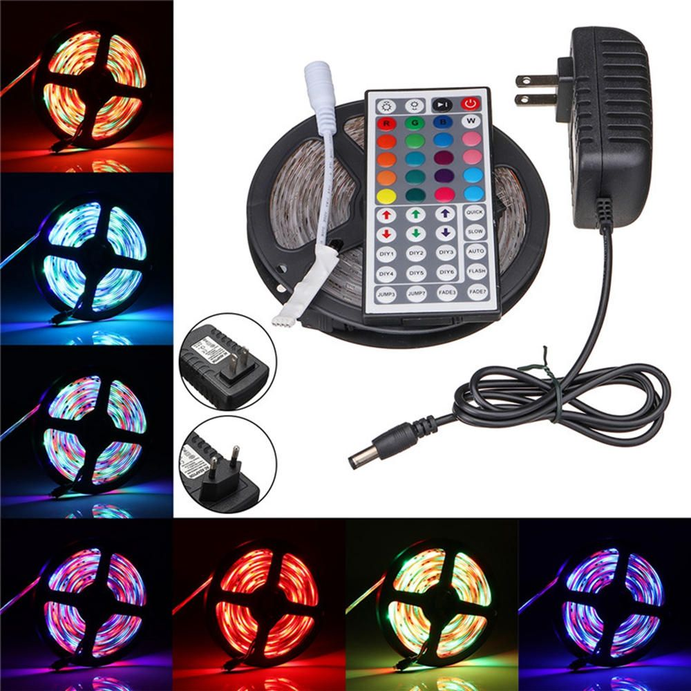 5M SMD3528 Non waterproof RGB 300 LED Strip Light+IR Controller+44Keys Remote Control+EU US Plug