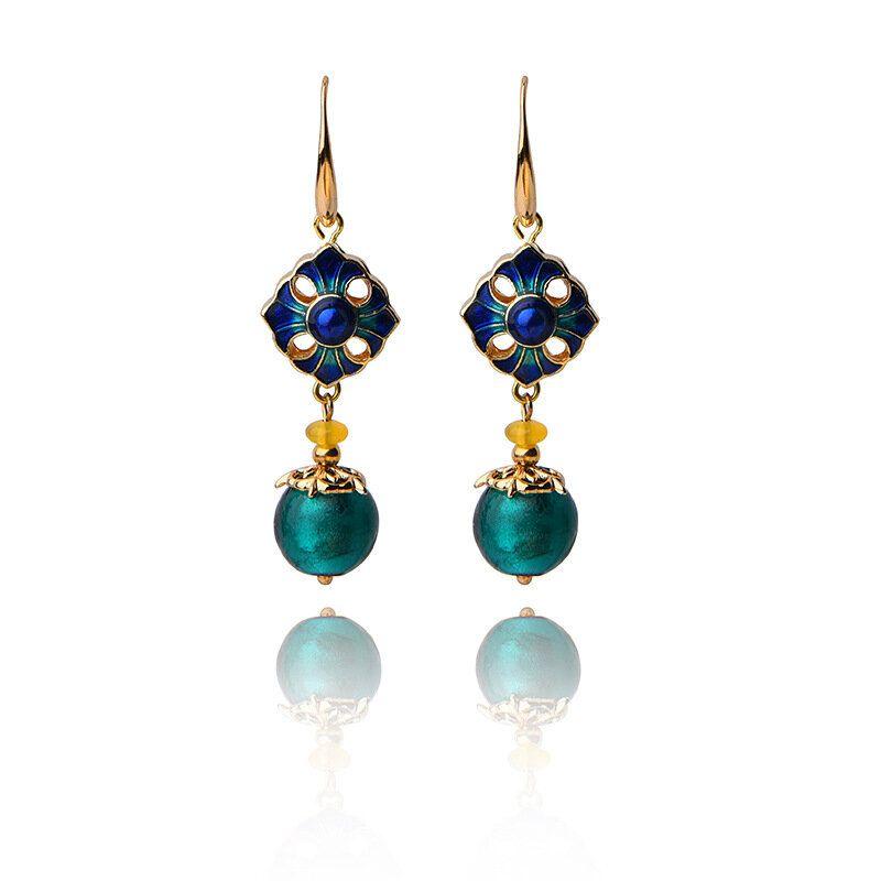 Luxury Retro Dangle Earrings Cloisonne Flower Agate Handmade Gold Earring for Women Ethnic Jewelry