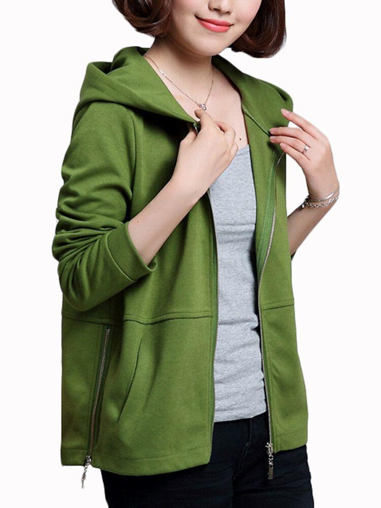 Casual Women Zip Pure Color Loose Jersey Jacket Coat Hoodie Sweatshirt