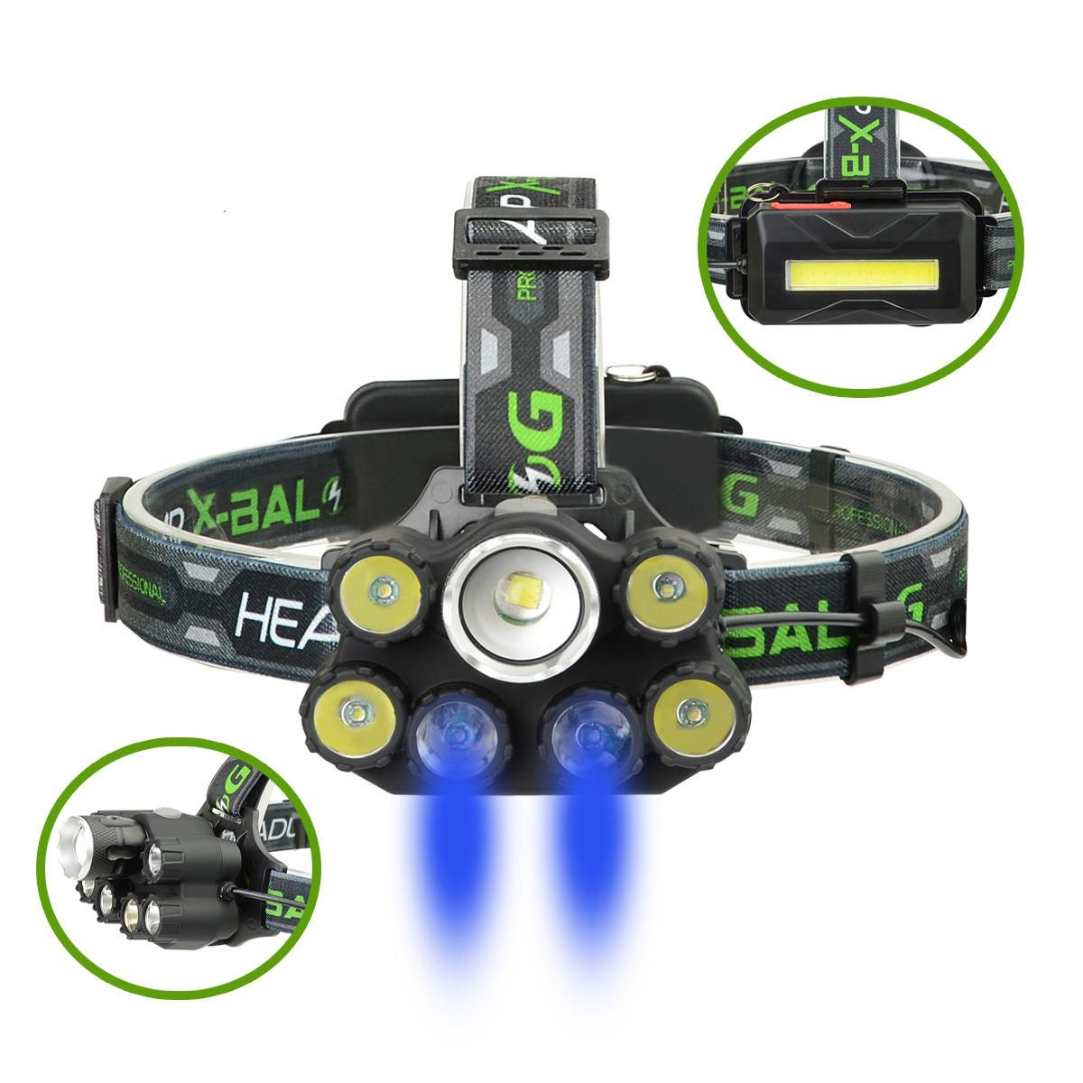 XANES BL T76 B6 2500LM T6 4XPE Blue LED 6 Modes Telescopic Zoom Cycling Hunting Camping Outdoor Headlamp COB Back Light USB Charging Interface