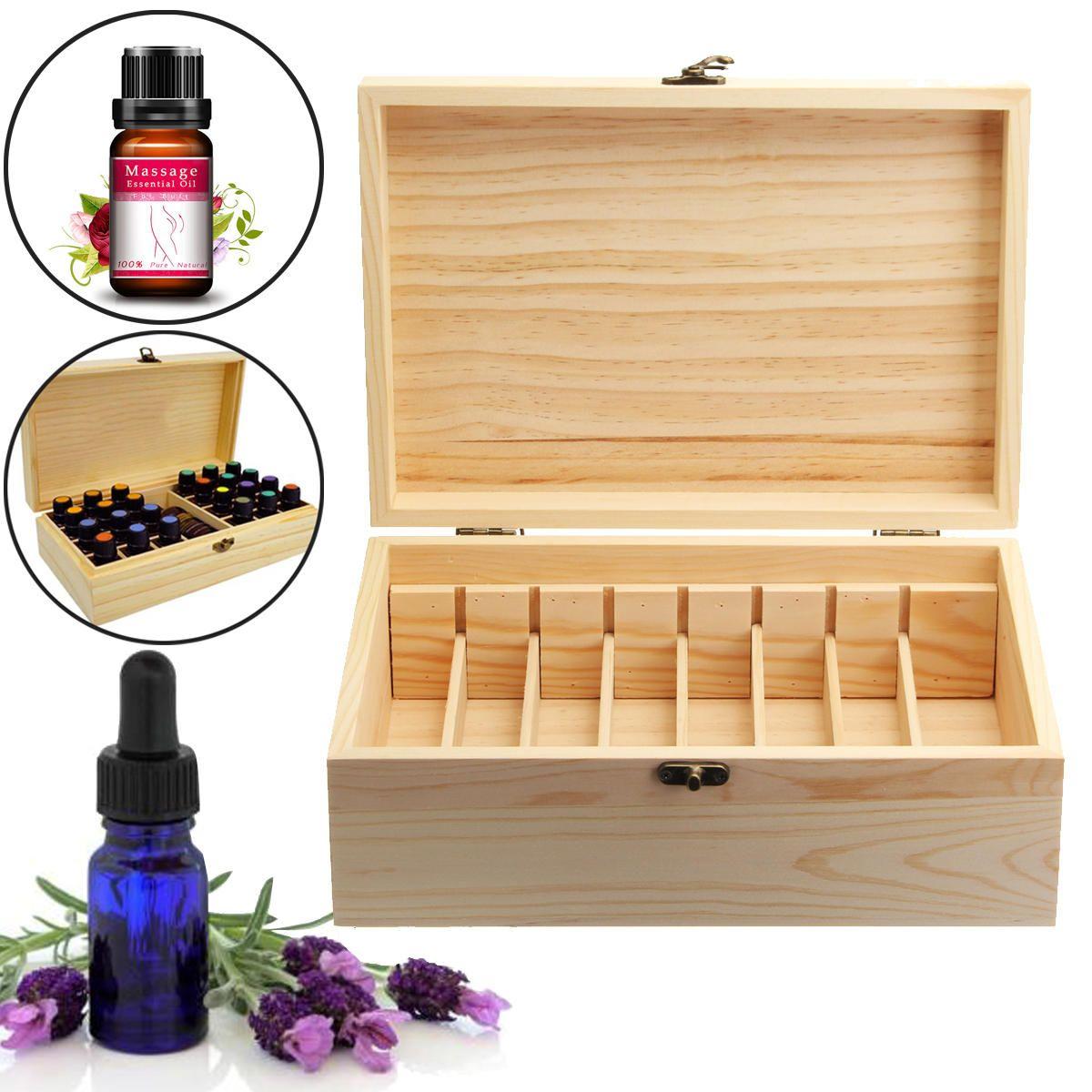 Storage Box Wooden Organizer Travel Carry Case For 5ml 30ml Essential Oil Bottle