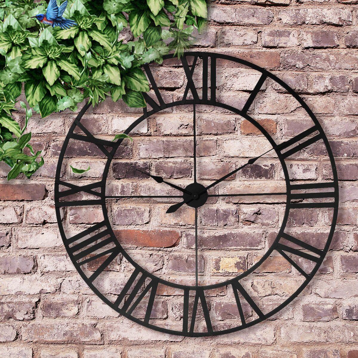 80cm Large Outdoor Garden Wall Clock Roman Numerals Giant Open Face Metal